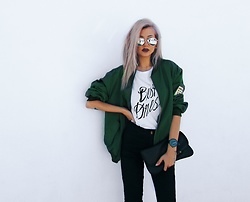 Venetia Kamara - Sheinside Bomber Jacket, Dukudu Watch, American Apparel Black Skinny Jeans - Best Dressed