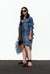 ASH - Zara Denim Jacket, Gucci Loafers, Mango Striped Slip Dress - Slip Dress & Denim Jacket