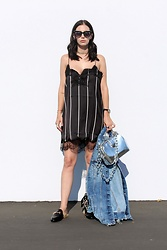 ASH - Mango Striped Slip Dress, Gucci Fur Loafers - Striped Slip Dress