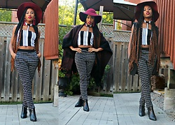 Melissa W - Jean Machine Hat, Melissa Williams Clothing Top, Chantelle Pants, Topshop Shoes, Jones New York Vest - -SQUARES n STRIPES-