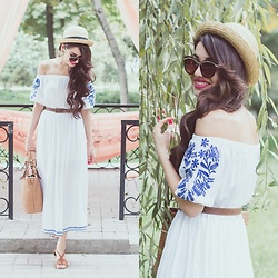 Diyora Beta - Gearbest White Midi Off Shoulder Dress, H&M Hat - Midi off shoulder dress
