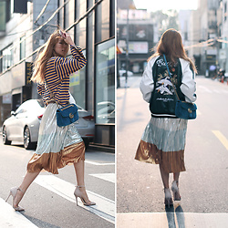 Rekay Style - Sukajan Jacket, Gucci Velvet Marmont Bag, Zara Metal Pleated Skirt, Reiss Suede Pumps - Seoul Street