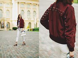 Andreea Birsan - Strappy Sandals, White Jeans, T Shirt, Lace Up Burgundy Bomber Jacket, White Crossbody Bag, Mirrored Sunglasses - Burgundy bomber jacket: How to wear the hot color for fall