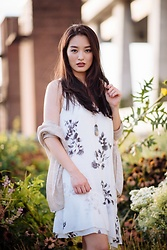 Kimberly Kong - Gentle Fawn Floral Dress, Wet Seal Cocoon Cardigan - Golden Hour Glow