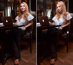 Anna Razumovskaya - Christian Louboutin Shoes, Zara Top - Blogger's morning