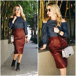 Zia Domic - Mustard Seed Clothing Denim Top, Zara Faux Leather Skirt - Red Leather, Cut Out Denim.