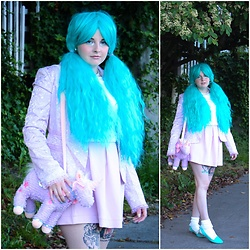 Ash Stash - Gothic Lolita Wigs Rhapsody Collection Teal, Ceres Pastel Embroidered Blazer, Dolls Kill Unicorn Plushie Purse, Tobi Pleated Skirt, American Apparel Ruffled Socks, Mascotte Teal Slippers - Pastel Doll