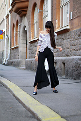 Paz Halabi Rodriguez - H&M Stripes Blouse, Zara Extra Flared Black Pants, Zara Pointed Patent Leather Flats - Make it Extra Flared