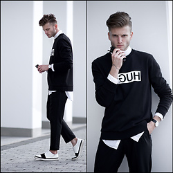 Stilysto By Andrzej S. - Hugo Boss Sweatshirt, Hugo Boss Pants - Black | White Hugo