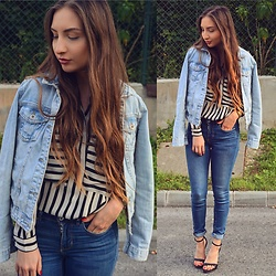 Aliz M - Zara Denim Jacket, Choies Striped Shirt, H&M Jeans, Zara Strap Heels - Denim on denim