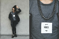 Kylie Rodriguez - Ray Ban Aviator Sunglasses, Androgyne Manila Oversized Varsity Jacket, Forever 21 Black Skinny Jeans, Aldo Black High Top Sneakers, Anthology Matte Chain Necklace, Tsc Statement Cropped Top - Good vibes only.