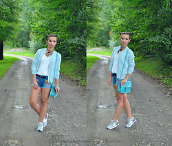 Natalia Uliasz - Allegro.Pl Choker, Reserved T Shirt, Stradivarius Bomber Jacket, Lidl Denim Shorts, New Balance Shoes - Farewell to summer