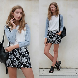 Alba Granda - Dresslily Bsaeball Tee, H&M Floral Shorts, Zara Leather Sandals, Primark Leather Bagpack - Back to School