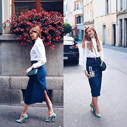 Cristina Gheiceanu - Zaful Shirt, Zaful Skirt, Yoox Pumps - My denim fall!