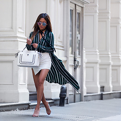 Jessi Malay - L'academie Classic Blouse, L'academie Shirt Dress In Green Stripe, Fendi Dotcom Leather Satchel, Perverse Werk Sunglasses - Layering Stripes | L'Academie