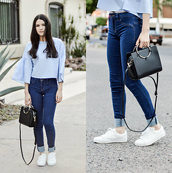 Xaydy Gambino - Zara Mini City Bag, Bershka White Textured Sneakers, Zara Frilled Sleeve Top, Bershka Blue Jeans, More On - A kind of blue