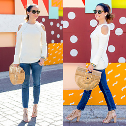 Jenn Lake - Chelsea28 Ivory Cut Out Shoulder Sweater, Cult Gaia Ark Bag, Adriano Goldschmied The Stilt Skinny Cropped Jeans, Loeffler Randall Luz Tassel Sandals, J. Crew Tortoise Sam Sunglasses, The Ropes Maine Rope Bracelet - Ivory Cut Out Shoulder Sweater