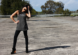 Lisa O - Afends Tee, Jet By John Eshaya Jeans, Friend Of Mine Black Boots - Colour Me Happy