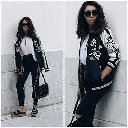 Theoni Argyropoulou - Asos Bomber Jacket, Bershka Skinny Jeans, Shoulder Bag, Pull & Bear Flatform Sandals, Zara White Tee, Wrap Choker - Embroidered Bomber on www.somethingvogue.com