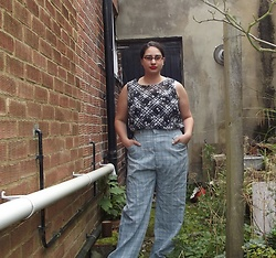 Selina - Self Made Daisy Print Top, Vintage Sale Men's Trousers - Hello, menswear calling