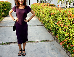 Shanaz AL - Cotton On Purple Midi Dress, Something Borrowed Ankle Strap Flats, Black Sling Bag - Girl, Befriend Yourself