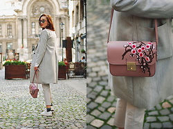 Andreea Birsan - Flower Embroidered Crossbody Bag, Grey Coat, White Button Down, Mirrored Sunglasses, Grey Trousers, White Sneakers, Glitter Socks - Grey coat & floral crossbody bag