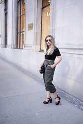 Sandy Joe Karpetz - Ray Ban Silver Aviators, Vintage Black Cotton Mock Neck Top, Holt Renfrew Grey Wool Trousers, Danier Leather Black And Pony Hair Clutch, Rachel Comey Dekalb Plaform Sandals - Downtown