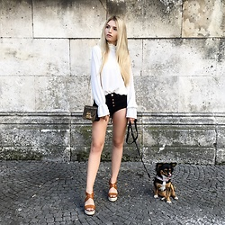 Franziska Elea - Edited Blouse, Glamorous Hot Pants, Furla Bag, Buffallo Wedges - Me And My Puppy