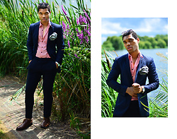 Omiri Thomas - Hackett London Pinstripe Blazer, River Island Pink Linen Shirt, H&M Navy Slim Trousers, Keinberg London Watch, London Brogues Brouges - VIGOUR
