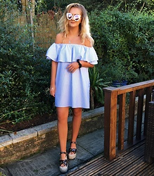 Amy Hallimond - Zara Dress, Quay Sunnys, Asos Sandals - 'Shoulders are the new cleavage'