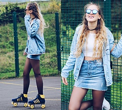 Marta M - Primark Skirt, Bubble Top - Roller skate