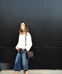 Aleksa Goldfield Rodrigues - American Eagle Outfitters Denim Culottes, Asos White Off The Shoulder Top, Lil Miss Jewels Choker, Kate Spade Black Purse - Denim Culottes