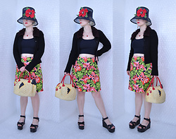 Suzi West - Kathleen Balbona Fine Millinery Couture Hat, Suzi West Model Barbie Hand Earrings, Anomaly At Five Points Apple Necklace, Smooches 1990s Gothic Cardigan, Forever 21 Tank Crop Top, Talbots Floral Skirt, Nyctlt Rubber Chicken Purse, Charles David Platform Sandal - 09 September 2016