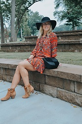 Taylor Reese - Phase 3 Whipstitch Hap, Sam Edelman Fringe Booties, Red Camel Patchwork Saddle Bag, Reese's Hardwear Woodland Antler Necklace - Boho Floral Dress