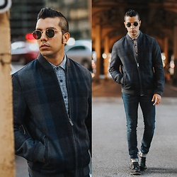 Franko Dean - Perry Ellis Wool Bomber Jacket, True Religion Skinny Jeans, Cat Footwear Black Boots, Ray Ban Round Sunglasses - Breeze and Sunny... #100PiecesOfPerry