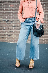 Taylor Reese - J. Crew Denim Culottes, Ivy & Leo Lace Up Top - Pumpkin Spice & Denim Culottes