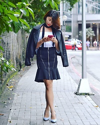 Cassey Cakes - Topshop Leather Jacket, Zara Skirt, Dorothy Perkins Pale Blue Pumps - Fall Transition