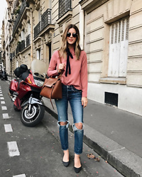 Michelle Madsen - Storets Pink Top, Celine Belt Bag, Moussy Bowie Skinny - Bonjour from Paris!