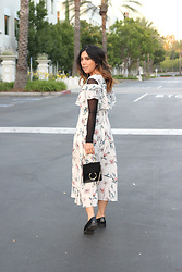 Yuka I. - Mesh Top, Floral Dress, Dezzal Bag, Loafers - A little mesh