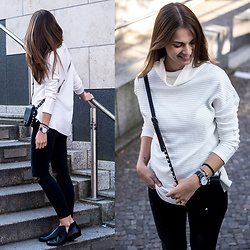 Jacky - Gina Tricot Jeans, Marks & Spencer Sweater, Rebecca Minkoff Bag - Black and white autumn look