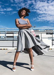Aicha R. - Na Kd Fashion Scuba Skirt, Na Kd Fashion One Shoulder Jersey Tank - Light & Breezy