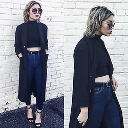 "Elizabeth Strecher - H&M Duster Coat, American Apparel Pencil Pant, American Apparel Sleeveless Turtleneck, Steve Madden ""Bayyside"" Heels - Fall Transitional Look"