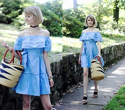 E Maille - Sheinside Off The Shoulder Dress, Salt & Sundry Basket Bag, Tabitha Simmons Heels - Wonderland