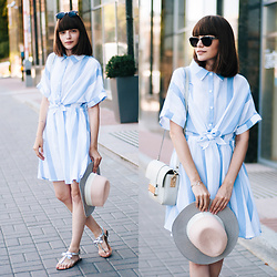 Christina & Karina Vartanovy - Parfois Metal Sunglasses, Romwe Blue Stripe Shirt Dress With Bow, H&M Grey Mini Bag, Gamiss Silver Cuff Bracelets, Sammydress Color Block Straw Fedora Hat, Zara Silver Bow Sandals - Kristina // young souls
