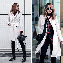 Rekay Style - Rayban Icons Sunglass, Zara Skinny Scarf, Calvin Klein Trench Coat, Wonderplace Red Check Shirts, Calvin Klein Satchel Bag, Calvin Klein Black Skinny Jeans, Modern Alchemist Ankle Boots - Trench Coat with checks