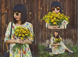 Katy Mage - Zaful Dress, Sammydress Bag - Fall Florals