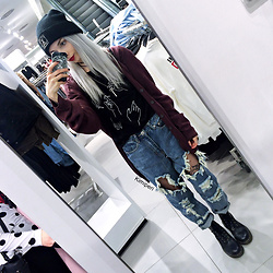 Kimi Peri - Long Clothing Logo Beanie, H&M Fishnet Tights, Madlady Ripped Boyfriend Jeans, Shop Kozy Hand Tee, Thrifted Burgundy Cardigan, Choker, Dr. Martens Vegan Boots - Touch of Autumn