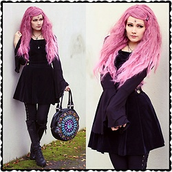Saija Sasetar - Gothic Lolita Wigs Rose Fade Rhapsody Wig, Emp Gothicana Bat Girl Shirt With Big Sleeves, Emily Temple Cute Black Velvet Salopette, Restyle Stained Glass Cathetral Bag, Vixxsin Lace Up Goth Leggings, H&M Black Lace Up Boots - Rose pastel goth