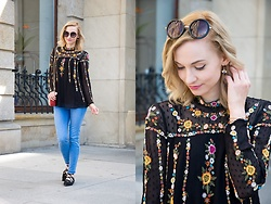 Joanna B - Zara Blouse, Zara Jeans, Parfois Shoes - October Flower Power