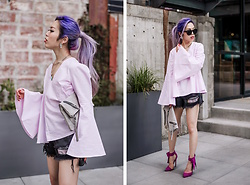 Aika Y - Blush & Brûlée Pink Bell Sleeved Top, Zara Black Denim Shorts, Violet Ray Grey Clutch, Shoe Dazzle Bow Tie Pink Pumps, Free People Rounded Sunglasses - Pink Bell Sleeve